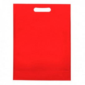 Non-Woven Bag with Die-cut Handles Red 30+10x40cm (200 Units)