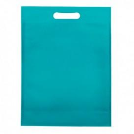 Non-Woven Bag with Die-cut Handles Aquamarine 30+10x40cm (25 Units)