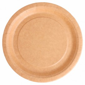 Paper Plate Biocoated Natural 18 cm (400 Units)