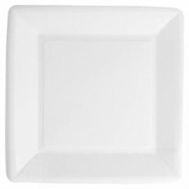 Talerz Papierowe Biocated Białe Kwadratowi 18cm (20 Sztuk)