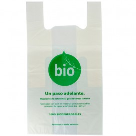 Plastic T-Shirt Bag 100% Biodegradable 55x60cm (100 Units)