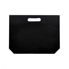 Non-Woven Bag with Die-cut Handles Black 34+8x26cm (25 Units)