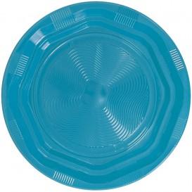 Talerz Głębokie Okrągłe Ośmioboczny Plastikowe PS Niebieski Światło Ø220 mm (25 Sztuk)