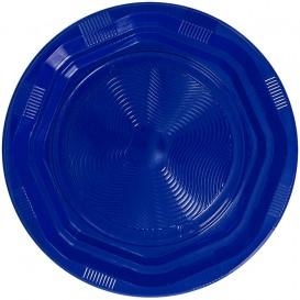 Talerz Okrągłe Ośmioboczny Plastikowe PS Niebieski Ø170 mm (25 Sztuk)