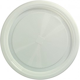Talerz Skrobia Kukurydziana PLA Płaski Białe Ø220 mm (25 Sztuk)