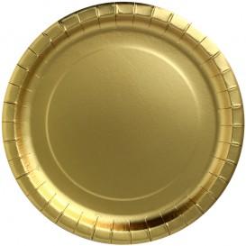"""Talerz Papierowe Okrągłe """"Party Shiny"""" Złote Ø180mm (10 Sztuk)"""
