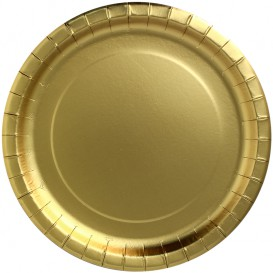 """Talerz Papierowe Okrągłe """"Party Shiny"""" Złote Ø230mm (300 Sztuk)"""