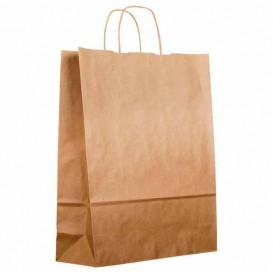 Paper Bag with Handles Kraft Brown 100g 22+11x27cm (200 Units)