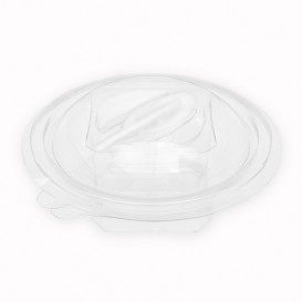 Plastic Salad Bowl APET Round shape with Spoon 150ml Ø12cm (60 Units)