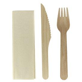 Zestaw Sztućców Drewniane Widelczyki, Nóż i Serwetki (250 Sztuk)