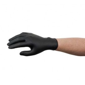 Rękawiczki Nitrylowe bez Talk Czarni Rozmiar M AQL 1.5 (100 Sztuk)