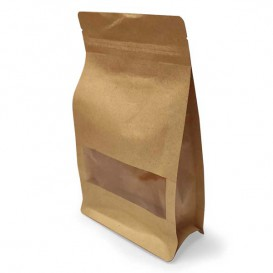 Paper Bag without Handle Kraft and Window 12+6x23,5cm (500 Sztuk)