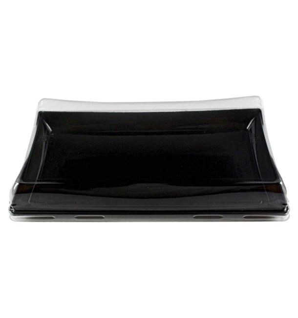 Tacki Plastikowe Czarni z Pokrywką PET 12x22cm (120 Sztuk)