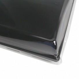 Tacki Plastikowe Czarni z Pokrywką PET 16x22cm (15 Sztuk)