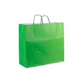 Torby Papierowe Zielone z Uchwytami 100g 22+9x23cm (200 Sztuk)