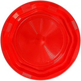 Talerz Okrągłe Ośmioboczny Plastikowe PS Czerwerne Ø22cm (25 Sztuk)