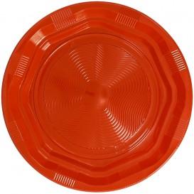 Talerz Okrągłe Ośmioboczny Plastikowe PS Orange Ø220 mm (25 Sztuk)