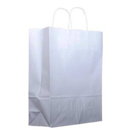 Torby Papierowe Kraft Białe z Uchwytami 100g 22+11x27 cm (200 Sztuk)