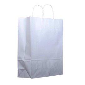 Torby Papierowe Kraft Białe z Uchwytami 100g 25+13x33cm (25 Sztuk)