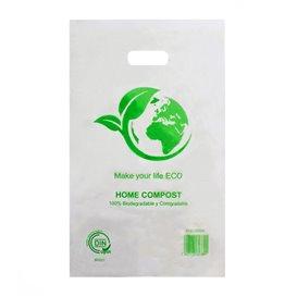 Worki Plastikowe z Wyciętym Uchwytem 100% Biodegradowalny 20x33cm (100 Sztuk)