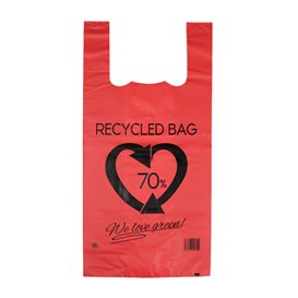 Plastikowa torba na koszulki 70% z Recyklingu Czerwony 42x53cm 50µm (1.000 Sztuk)