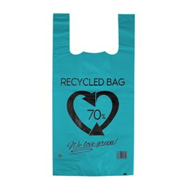 Plastikowa torba na koszulki 70% z Recyklingu Niebieski 42x53cm 50µm (1.000 Sztuk)