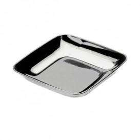 Plastic Tasting Plate PS Silver 6x6x1 cm (200 Units)
