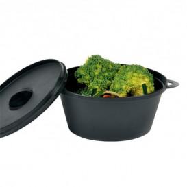 Serving Pot with Lid PP Black 15,6x10,1cm (6 Units)